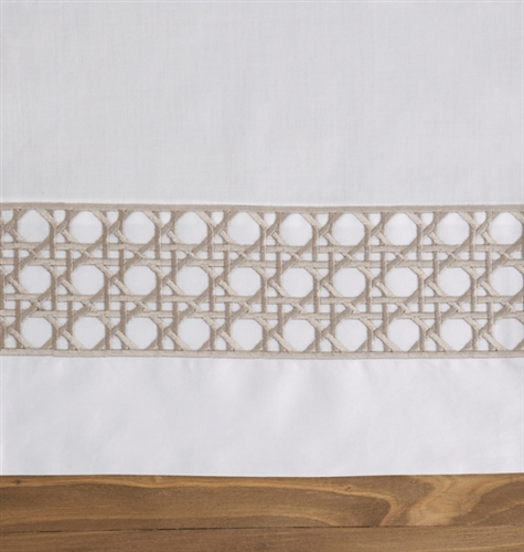 Lattice Duvet Set White and Taupe
