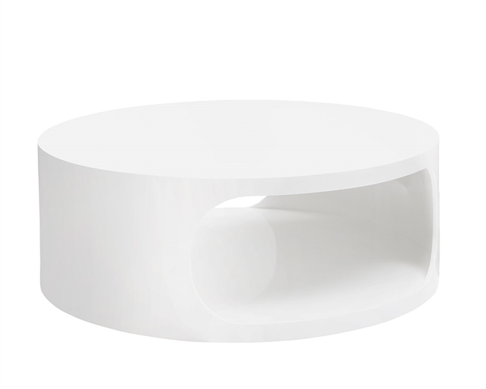 Savino Modern Round Coffee Table in white lacquer
