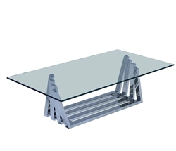 New Sorrento Stainless Steel Modern Coffee Table