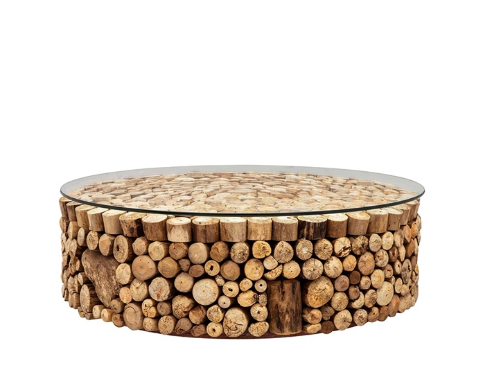 Osimo Driftwood with Glass Top Modern Coffee Table