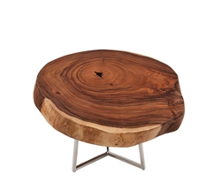 Verona Teak Root Slab Modern Coffee Table
