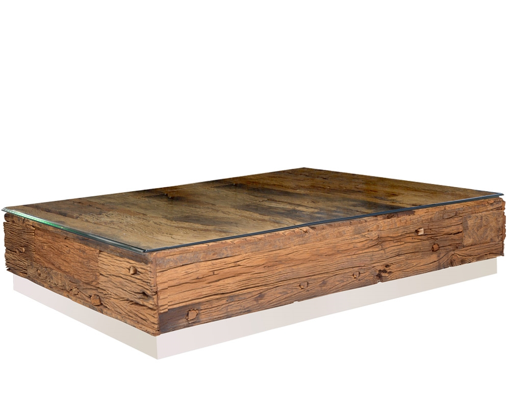 amalfi reclaimed teak wood rectangular coffee table with an optional beveled tempered glass top - Teak Wood Coffee Tables