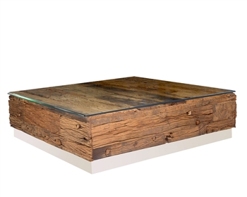 Amalfi Reclaimed Teak Wood Square Coffee Table with an optional Beveled Tempered Glass Top.