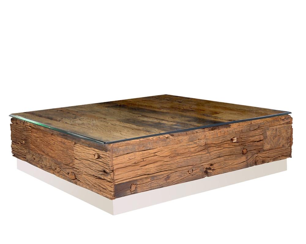 Square Coffee Table Glass Top.Amalfi Reclaimed Railway Wood Square Modern Coffee Table