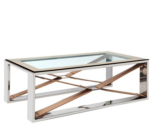 Rider's Cross Modern Coffee Table with Stainless Steel and leather accents.