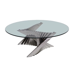 Positano Modern Round Coffee Table with tempered glass top and stainless steel legs