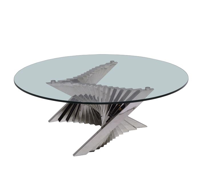 Made Of High Gloss Stainless Steel And Clear Tempered Glass, The Postiano Round  Coffee Table ...