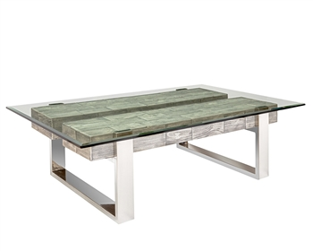 Log Pinewood Modern Coffee Table Ash Grey