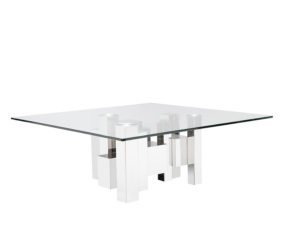 Dining Tables Sanremo Modern Square Coffee Table Tempered Glass