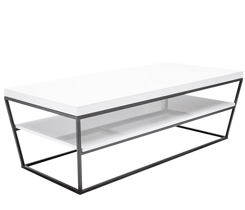 Bergamo Modern White Lacquer Coffee Table