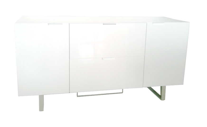 Amazing White Salamanca Buffet in white lacquer comes with contrasting  chrome stand - Mh2g -buffet-salamancawhite