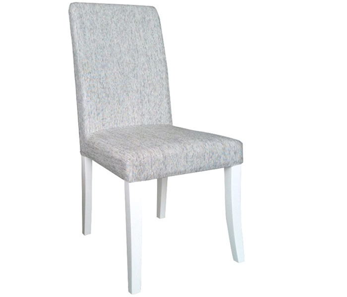 Merveilleux Canini Modern Dining Chair In Grey Fabric With White Legs