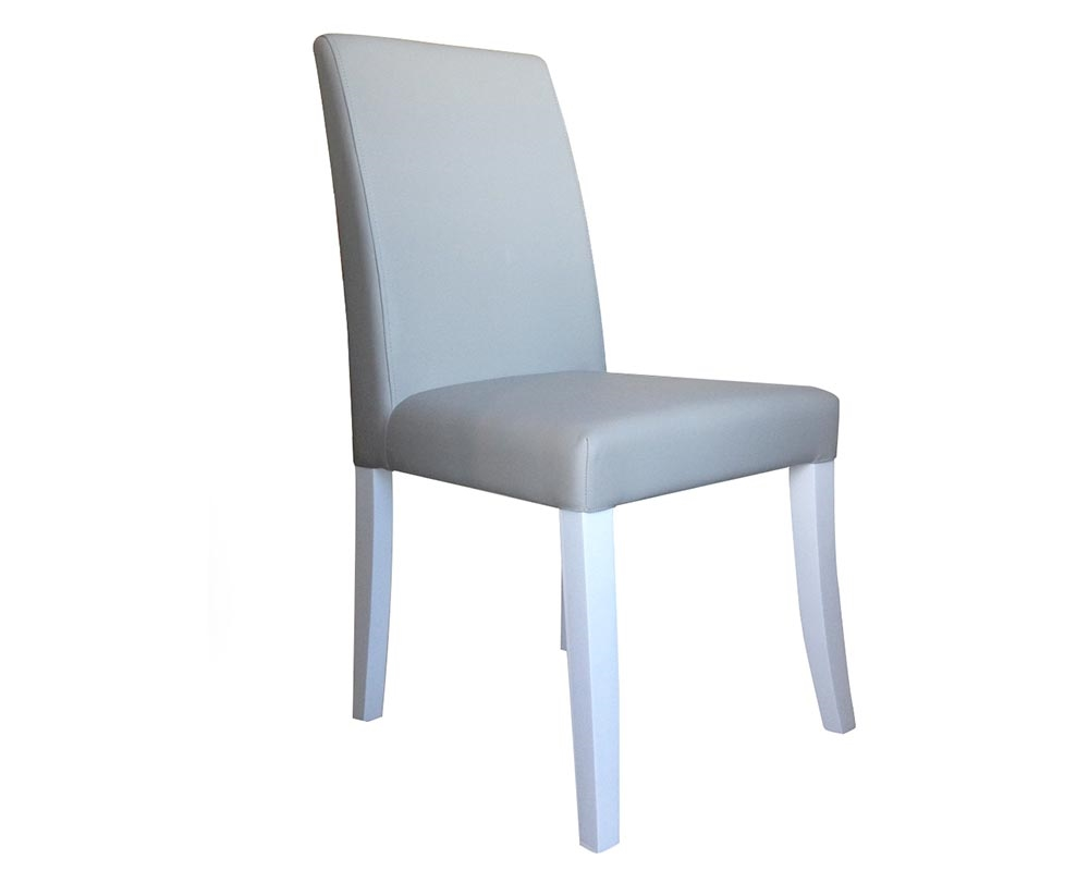 Tremendous Canini Modern Dining Chair In Grey Leatherette And White Lacquer Final Sale No Returns Ncnpc Chair Design For Home Ncnpcorg