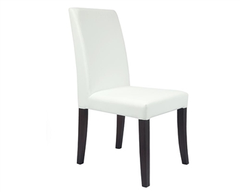 Canini Modern Dining Chair in Off White and Wengue