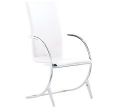 Valencia Modern Dining Chair in White with Arms
