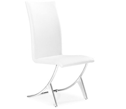 Valencia Modern Dining Chair in White without Arms