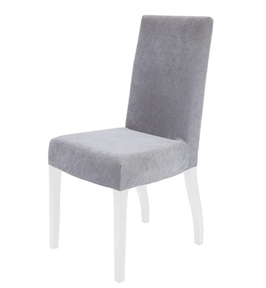 Granada Modern Dining Chairs In Light Grey Fabric White Legs