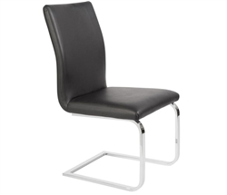 Matino Modern Dining Chair in Black Leather