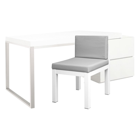 "Corsica Modern Cabinet Desk in White Lacquer with White Lacquer ""L"" Shaped Extension"
