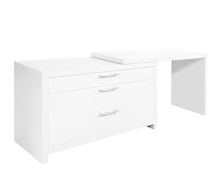 Vercelli Modern Desk with L-shape in White Lacquer