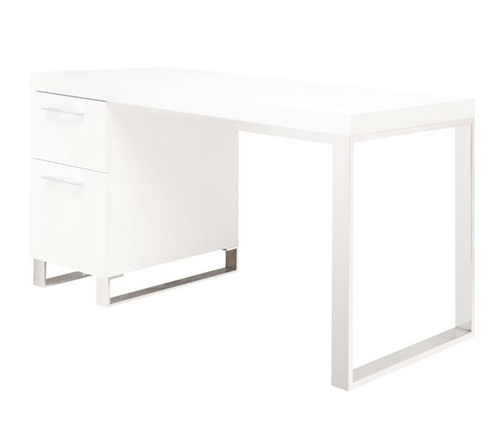 The Corsica Desk has two drawers with stainless steel handles and legs. Available in White Lacquer.