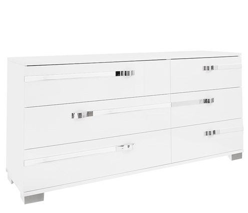 Volare Modern Italian 6 Drawer Cabinet in White Lacquer