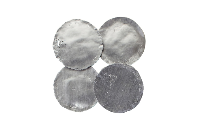 Galvanized Wall Discs, Set of 4 Silver Leaf