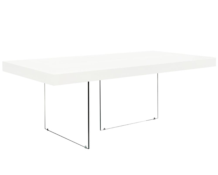 Stunning white lacquer table on tempered glass legs