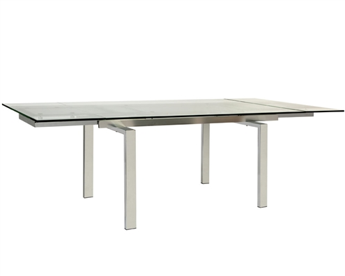 Torino Modern Expandable Glass Dining Table Outlet