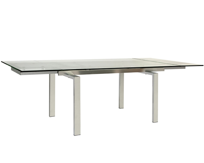 Torino Modern Expandable Clear Glass Dining Table