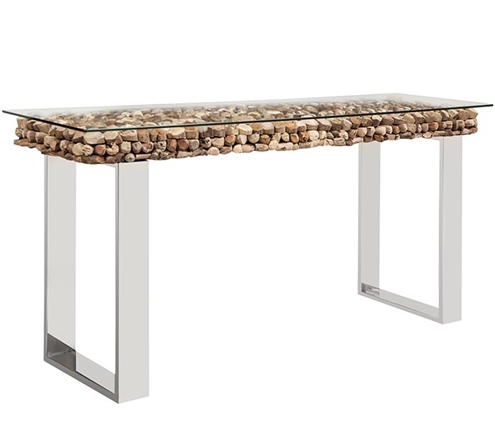 Osimo Driftwood Top with Glass Top Modern Console Table