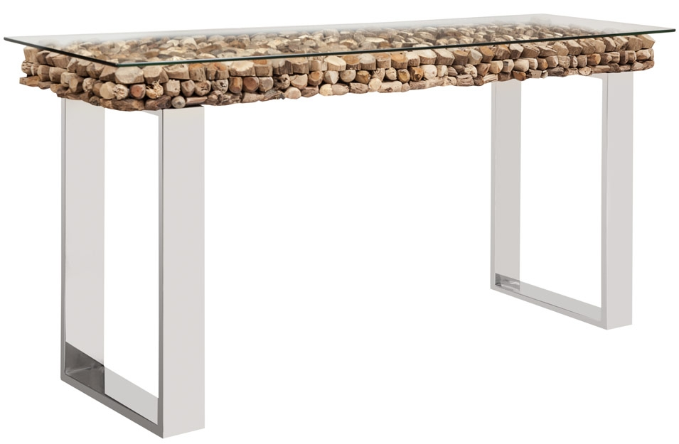 Osimo Driftwood Top With Glass Top Console Table