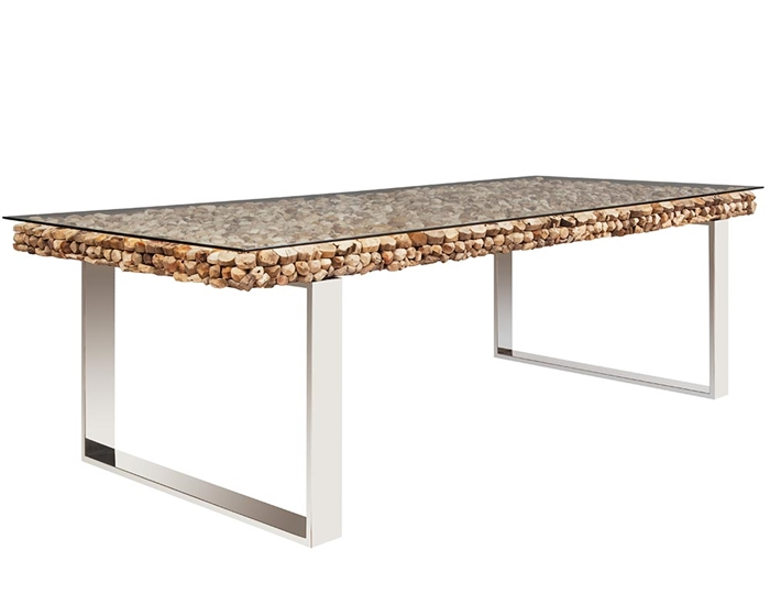 Osimo Driftwood with Glass Dining Table