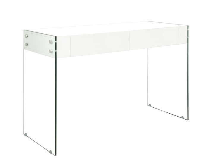 An ultra-modern multi-use console table with glass legs at MH2G