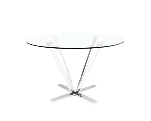 This ultra Modern tempered glass and stainless steel round Oliva Dining Table is a true work of art