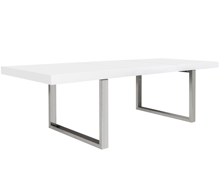 Modern white lacquer and stainless steel legs Extendable Dining Table