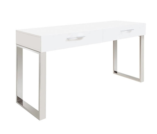 Corsica Modern Console Table in White Lacquer Clearance
