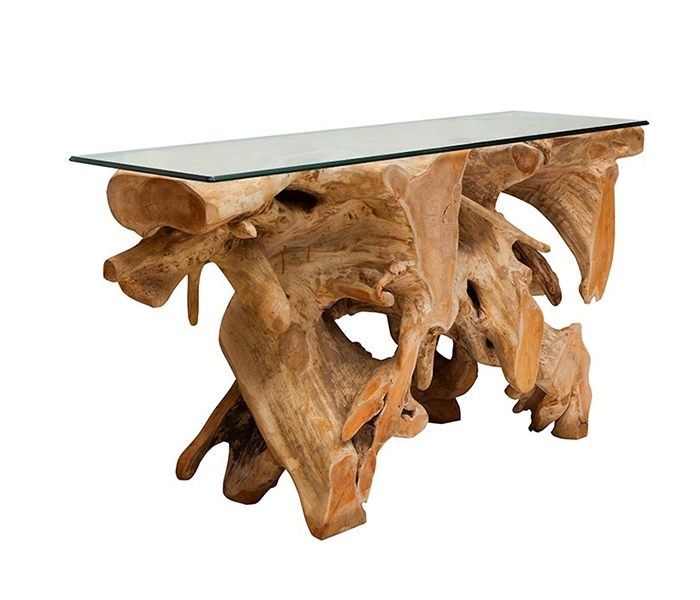 Teak Root Modern Lacquered  Console with tempered glass Top