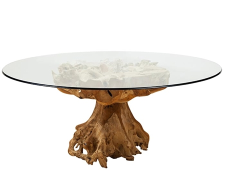 Teak Root Modern Lacquered Table Round