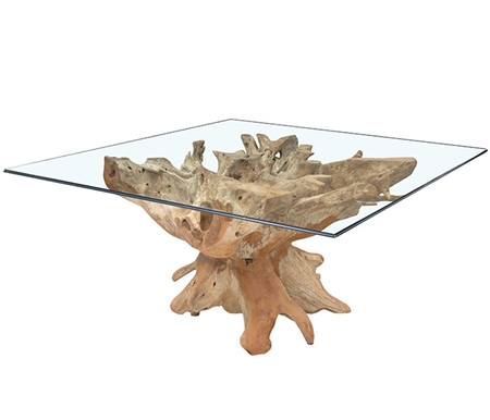 New - Teak Root Modern Lacquered Dining Table Square Base
