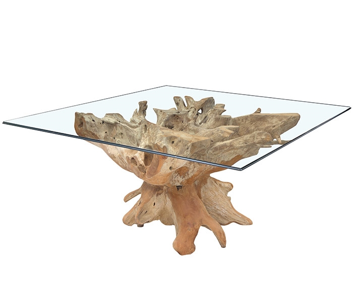 Teak Root Modern Lacquered Dining Table Square Base