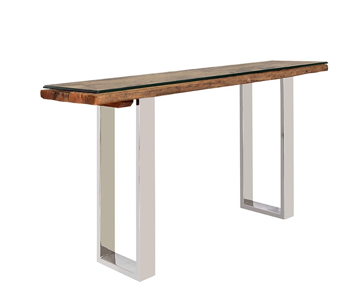 Amalfi Modern Console Table with reclaimed Teak  and beveled tempered glass top option