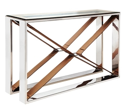 Rider's Modern Console Table with Leather and Stainless Steel