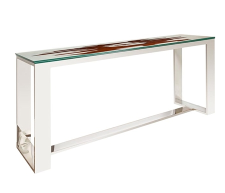 Ebony Glass Top Modern Console Table