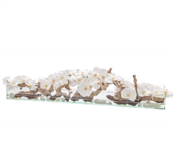 Modern Floral Arrangement Glass and Stone White Orchids 48""