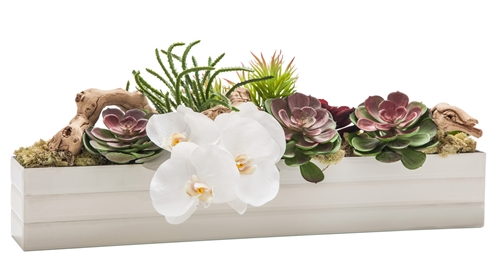This beautiful floral arrangement features a variety of flowers on a vine carefully crafted to look seemingly real.
