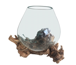 Modern Molten Glass Bowl On Root Stand