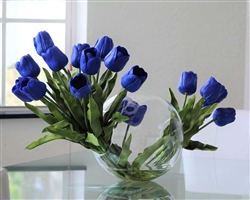 "Crosswinds vase 12"" x 11"" with two bundles of blue tulips anchored in our illusion water - * Special Order"