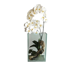 Plaza Modern Vase Clear With Driftwood and white Vanda Orchids