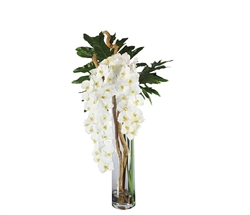 Rota Cylinder With White Orchids, Driftwood and Monstera Leaves